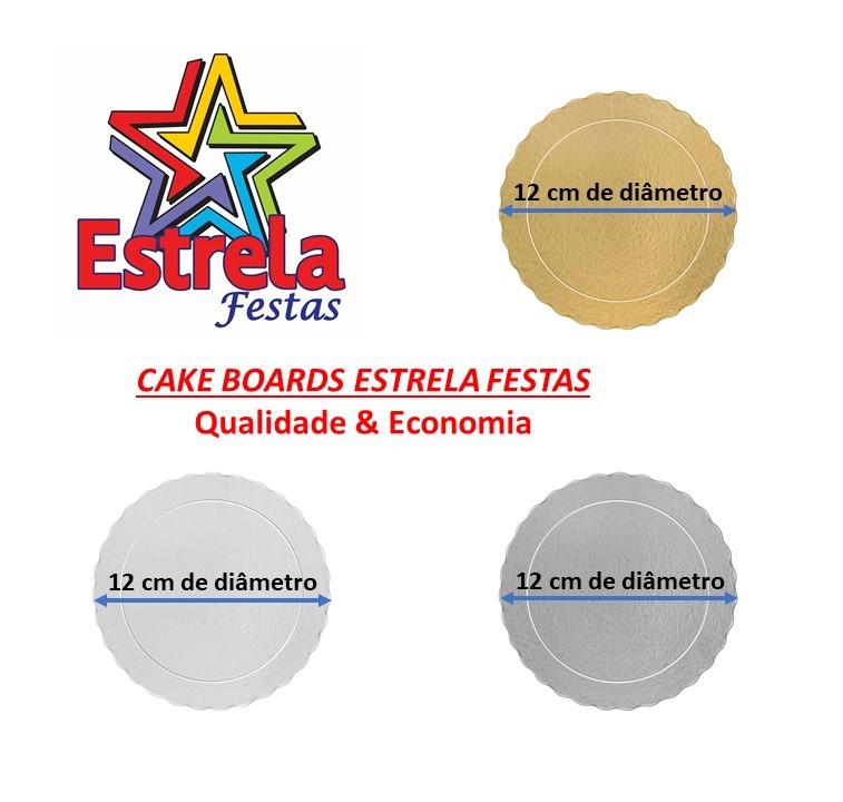 100 Bases Laminadas Para Bolo Redondo, Cake Board 12cm - Prata