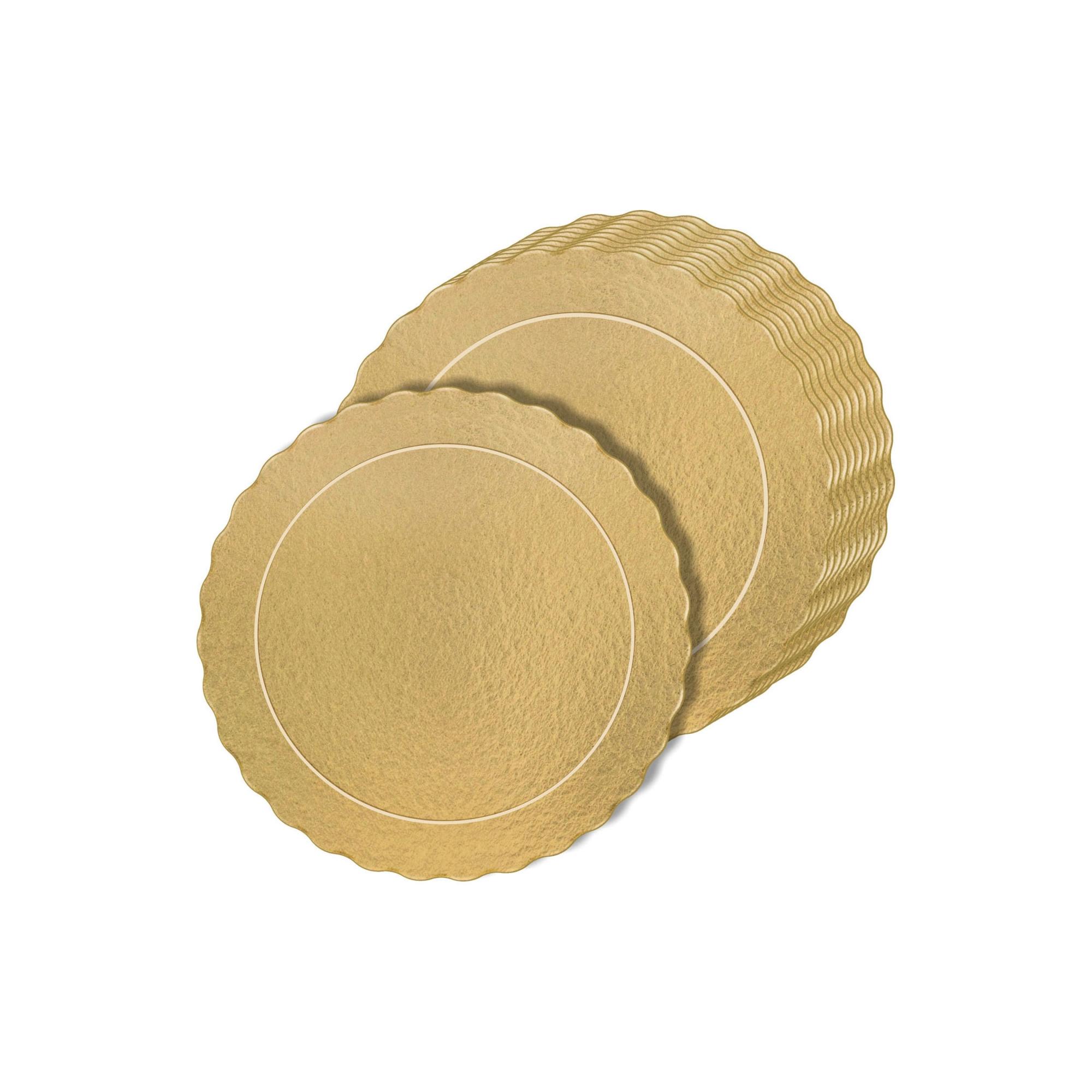 100 Bases Laminadas, Suporte P/ Bolo, Cake Board, 20cm - Ouro