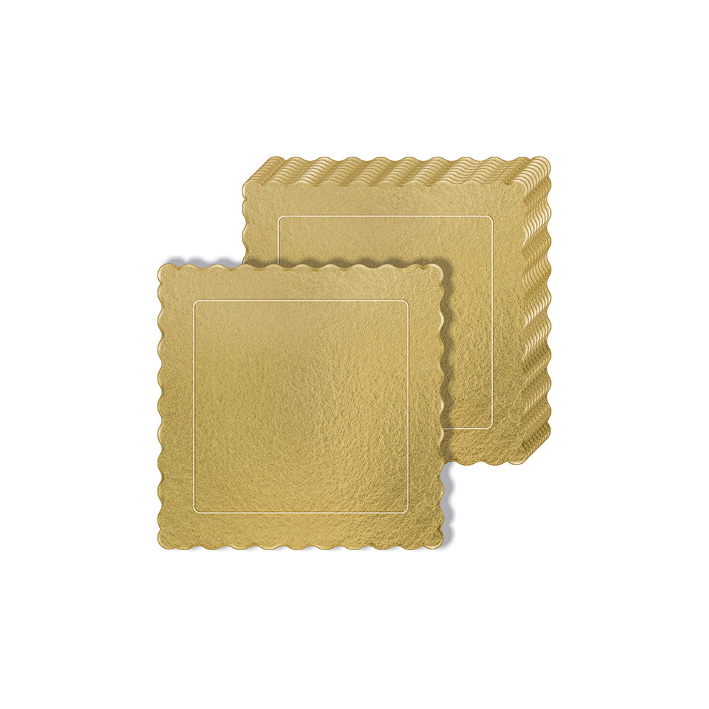 100 Bases Laminadas, Suporte P/ Bolo, Cake Board, 20x20cm - Ouro