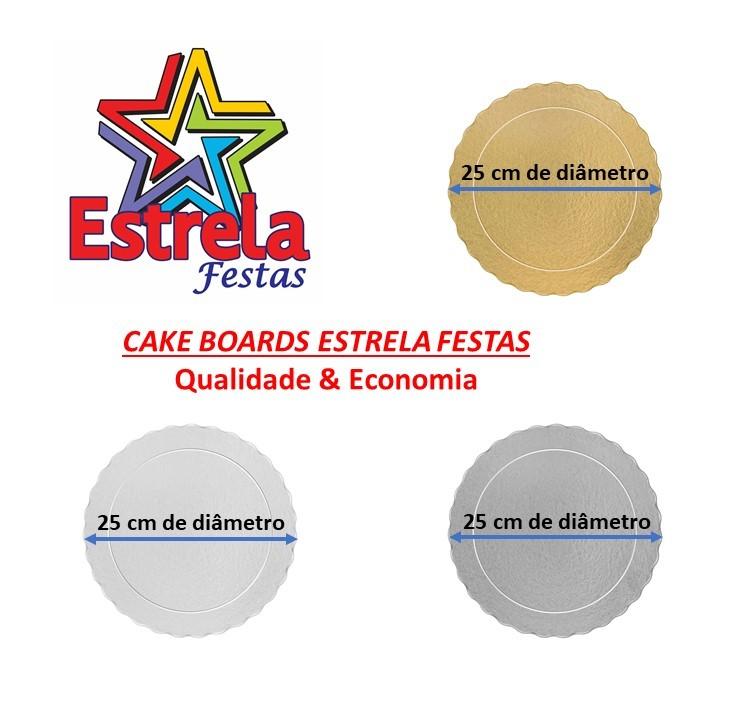 100 Bases Laminadas Para Bolo Redondo, Cake Board 25cm - Prata