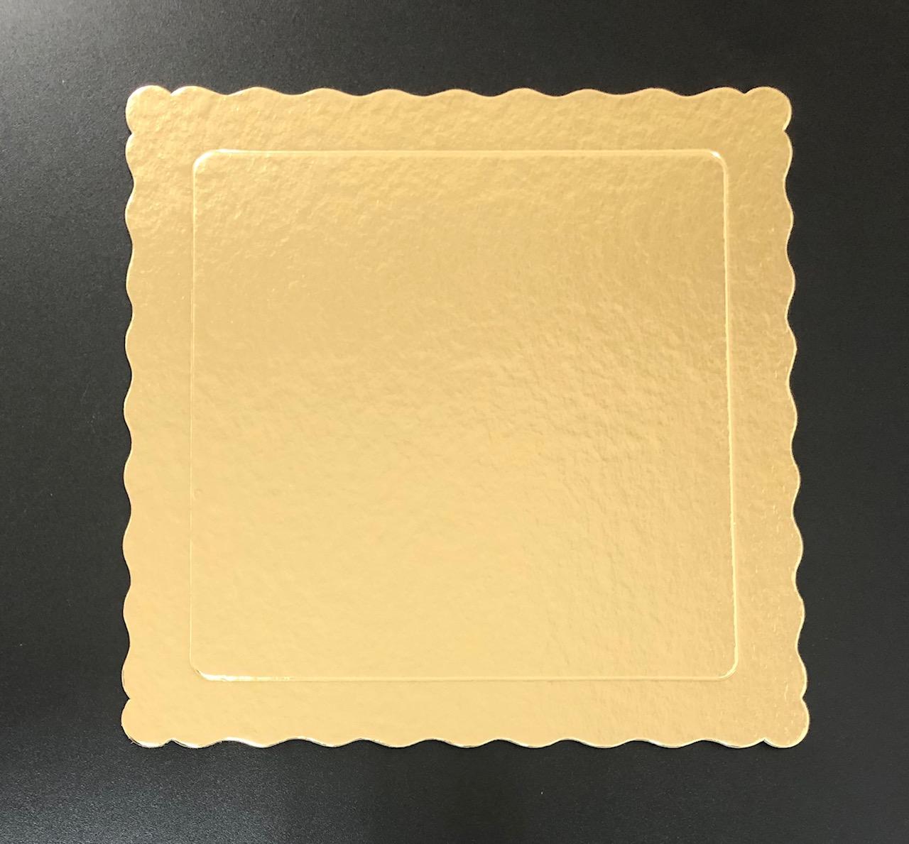 100 Bases Laminadas Para Bolo Quadrado, Cake Board 25x25cm - Ouro