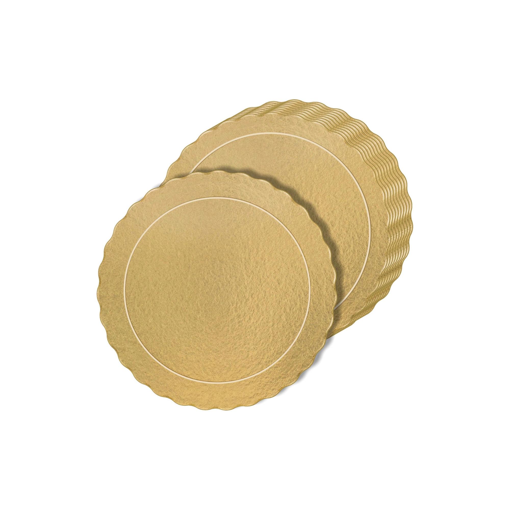 100 Bases Laminadas Para Bolo Redondo, Cake Board 26cm - Ouro