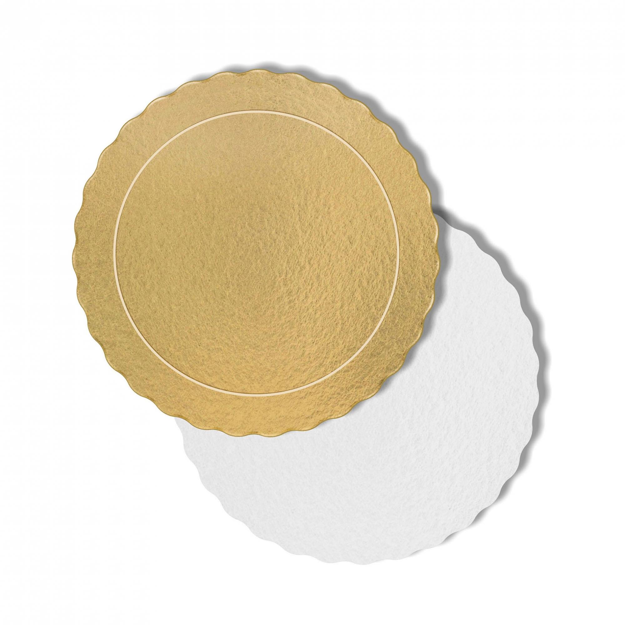 100 Bases Laminadas Para Bolo Redondo, Cake Board 28cm - Ouro