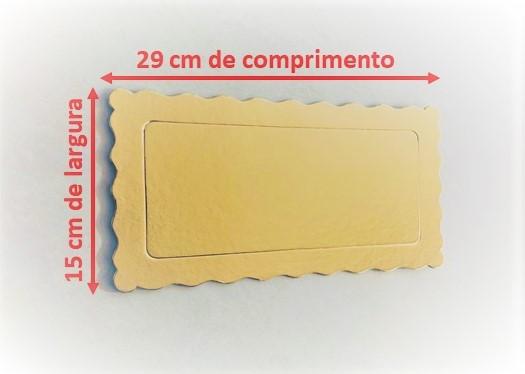 100 Bases Laminadas, Suporte P/ Bolo, Cake Board, 29x15cm - Ouro