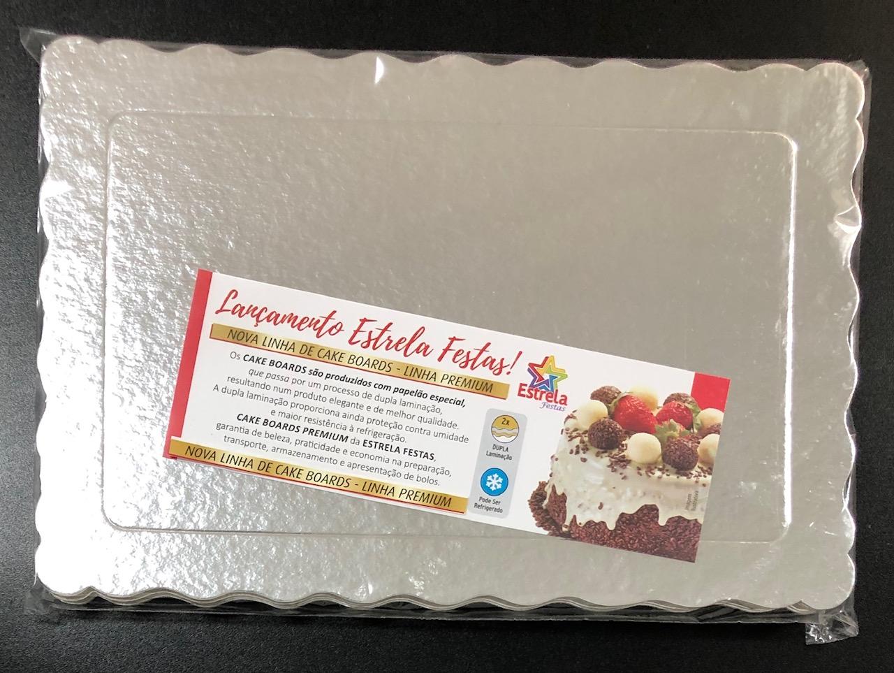 100 Bases Laminadas, Suporte P/ Bolo, Cake Board, 30x20cm - Prata