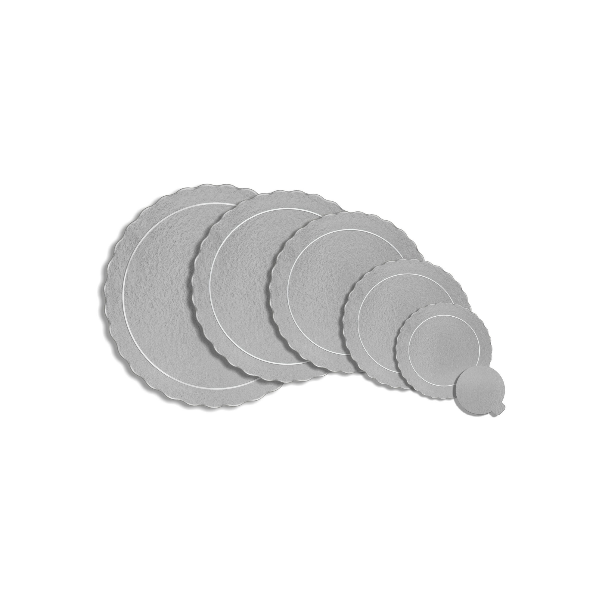 100 Bases Laminadas, Suporte P/ Bolo, Cake Board, Kit 15, 20 e 25cm - Prata