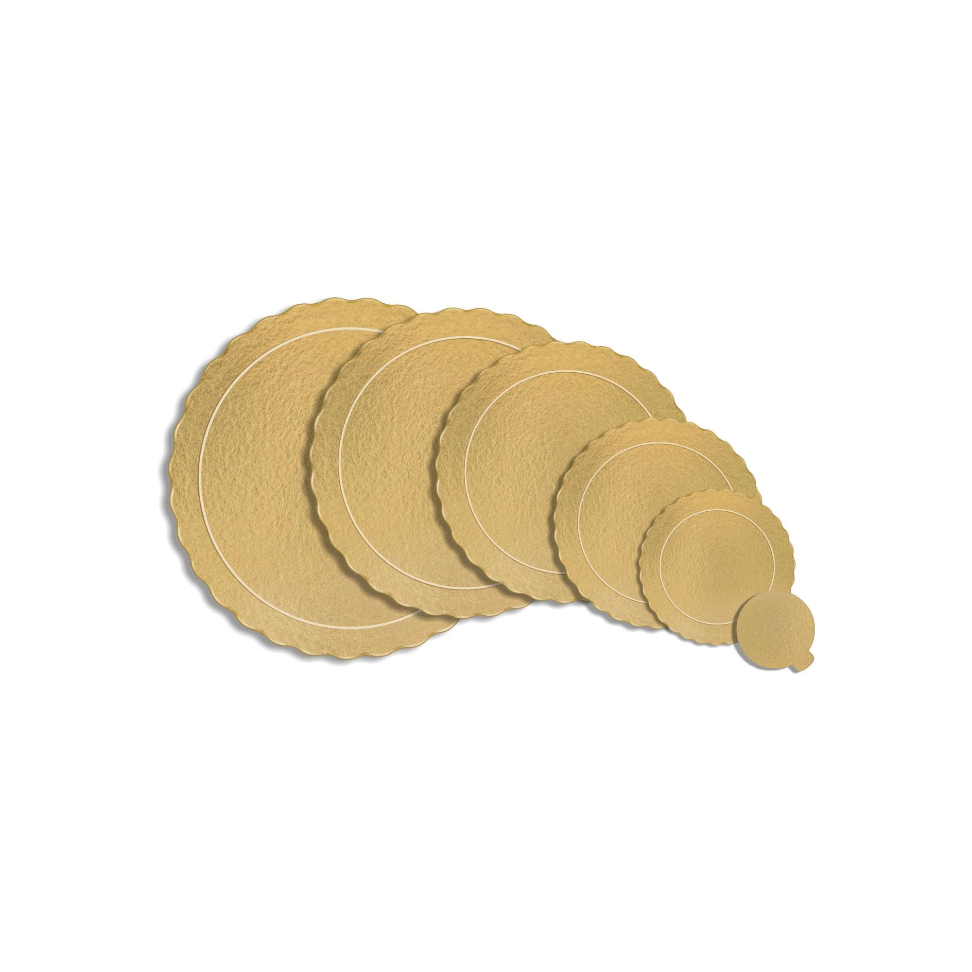 Kit 100 Bases Laminadas Para Bolo, Cake Board, 21 e 26cm - Ouro