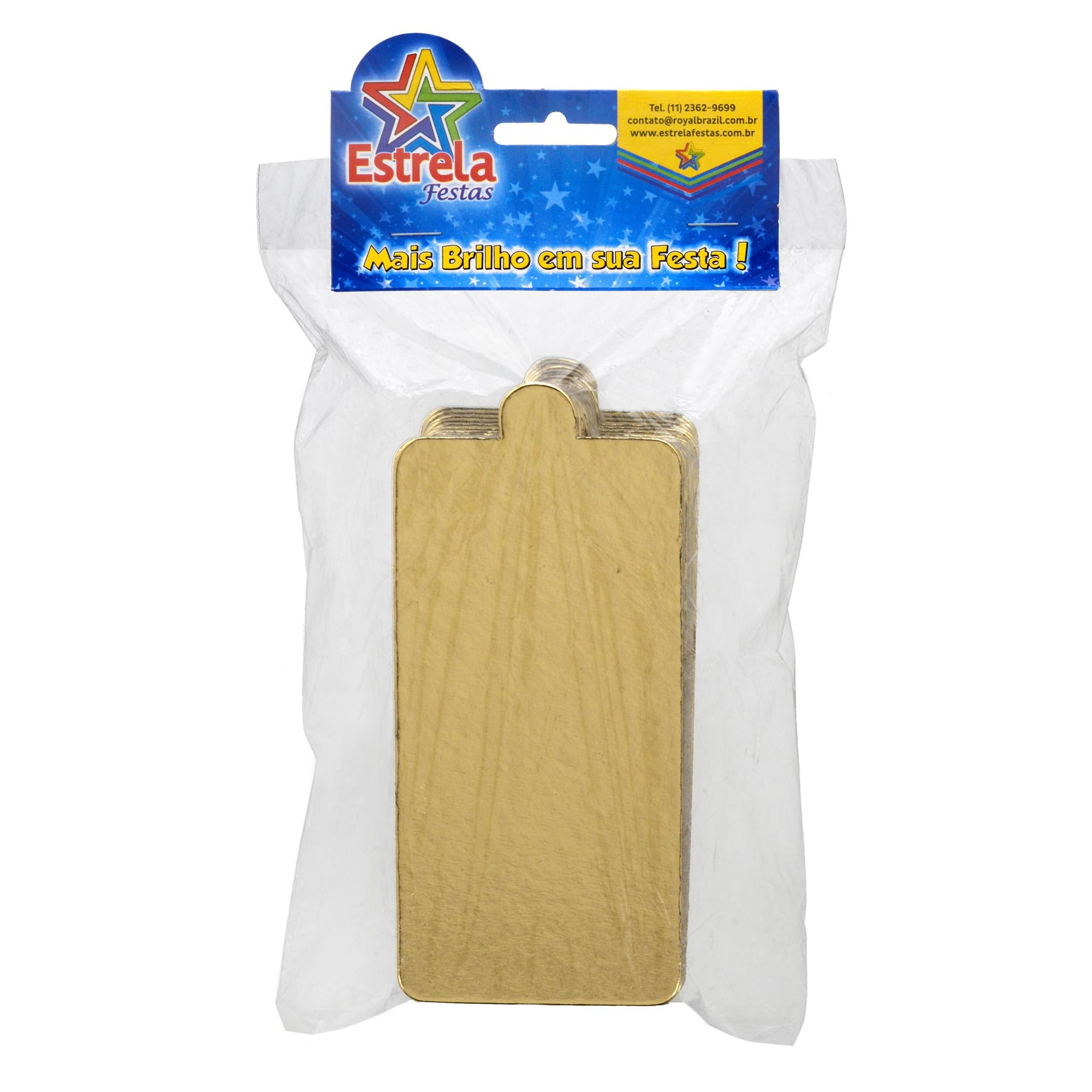 100 Bases Laminadas, Suporte P/ Bomba de Chocolate, Fatia de Bolo e Doces, 14x7 cm - Ouro