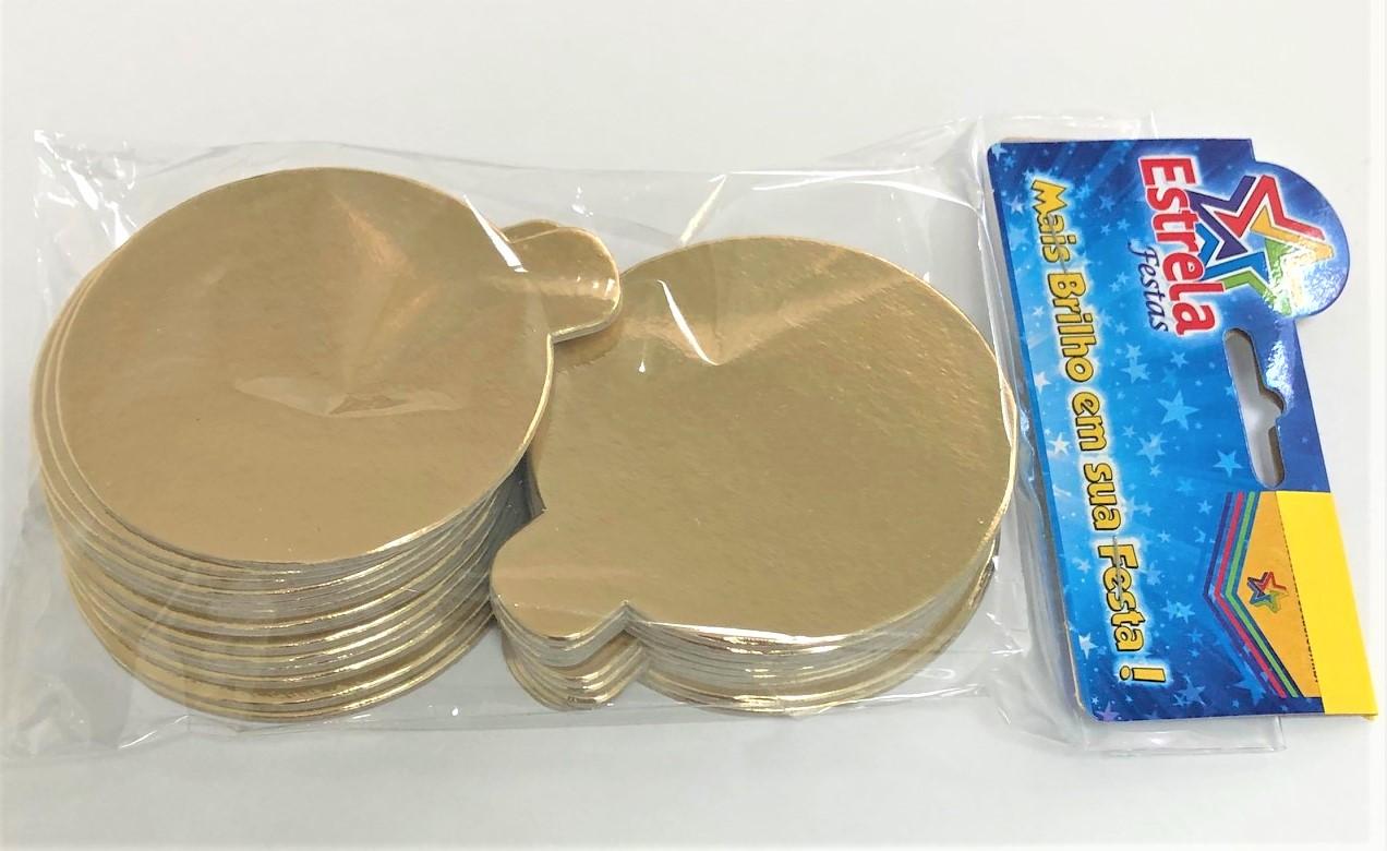 200 Bases Laminadas P/ Doces 7,5cm - Ouro