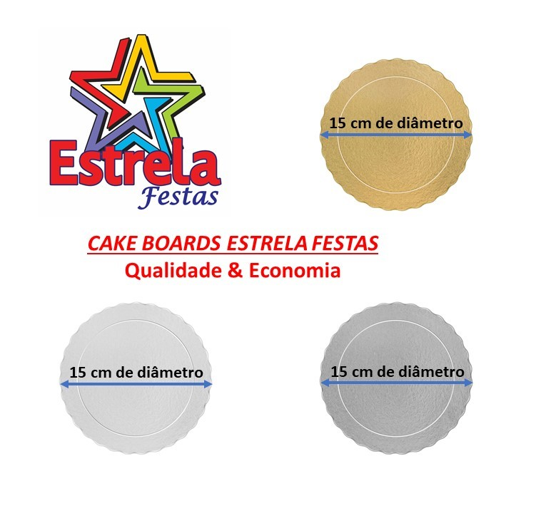 200 Bases Laminadas Para Bolo Redondo, Cake Board 15cm - Prata