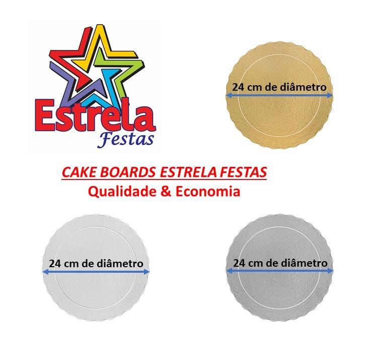 20 Bases Laminadas Para Bolo Redondo, Cake Board 24 cm - Ouro