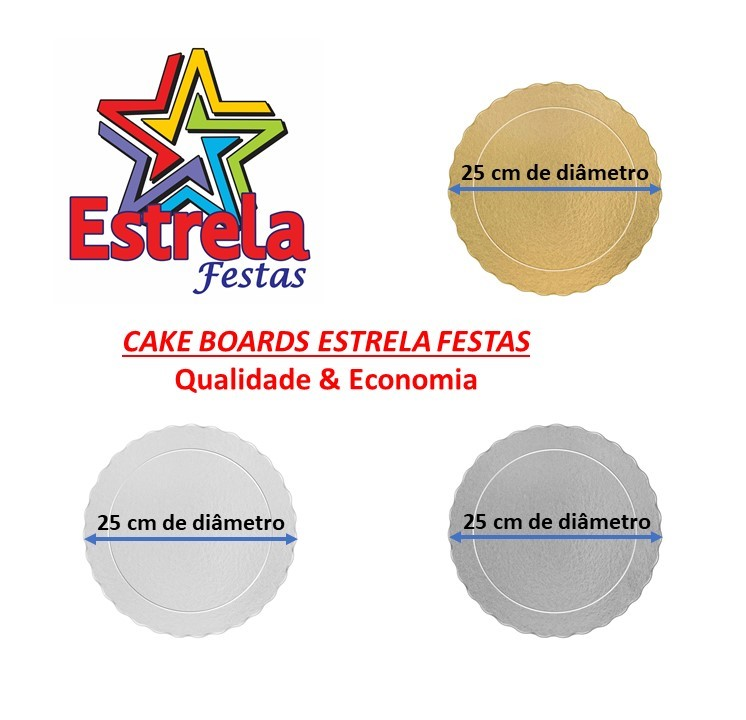 20 Bases Laminadas Para Bolo Redondo, Cake Board 25 cm - Prata