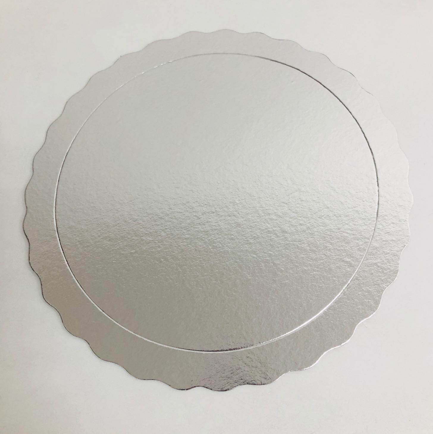 20 Bases Laminadas Para Bolo Redondo, Cake Board 28 cm - Prata