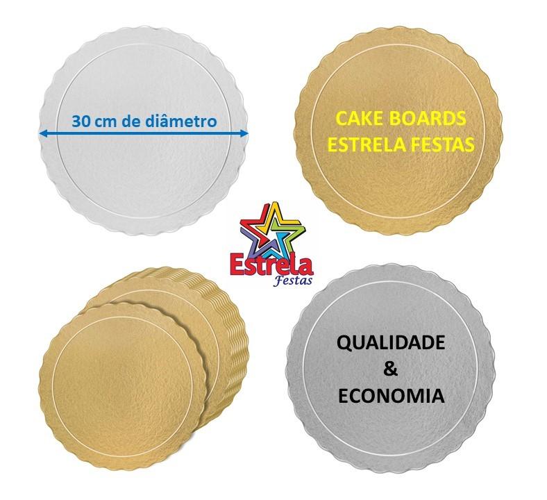 20 Bases Laminadas Para Bolo Redondo, Cake Board 30 cm - Prata
