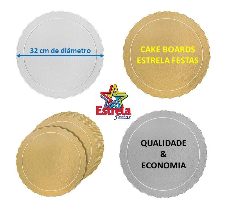 20 Bases Laminadas Para Bolo Redondo, Cake Board 32 cm - Prata