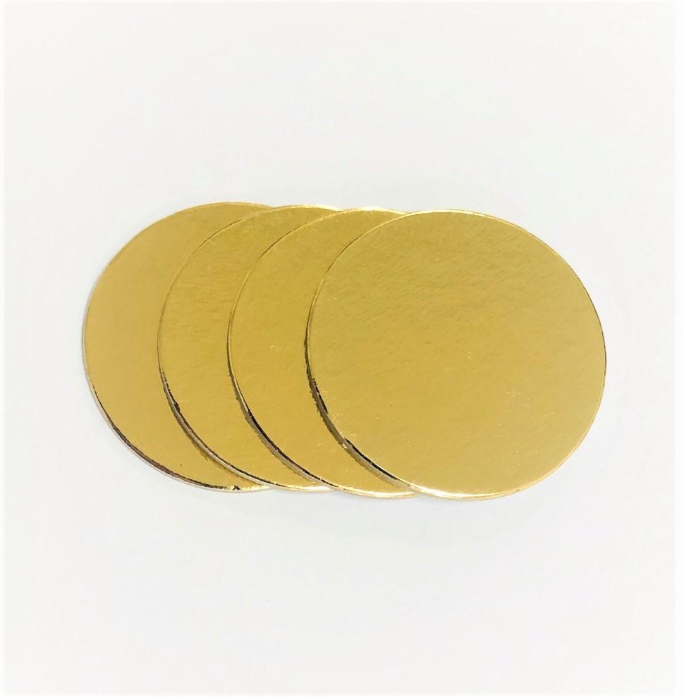 500 Bases Laminadas, Suporte P/ Brigadeiros e Doces, Disco de 6cm - Ouro