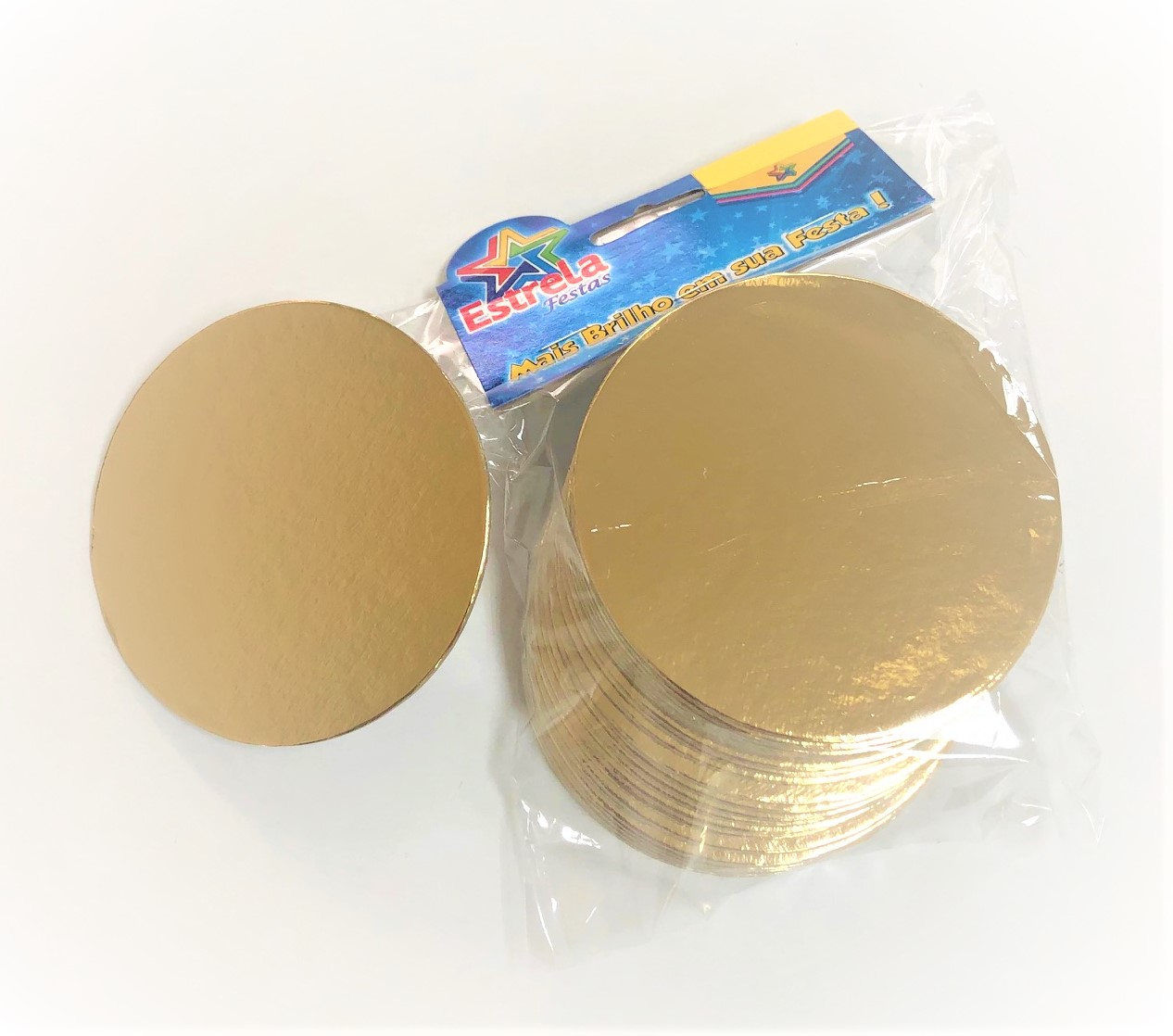500 Bases Laminadas, Suporte P/ Brigadeiros e Doces, Disco de 10cm - Ouro