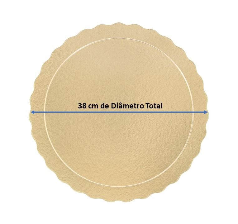 50 Bases Laminadas Para Bolo Redondo, Cake Board 38cm - Ouro