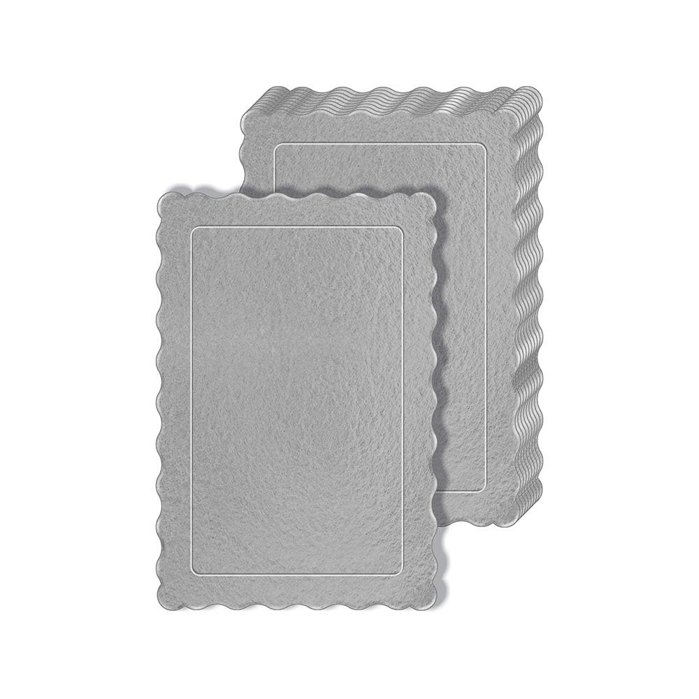 50 Bases Laminadas Para Bolo Retangular, Cake Board 30x20cm - Prata