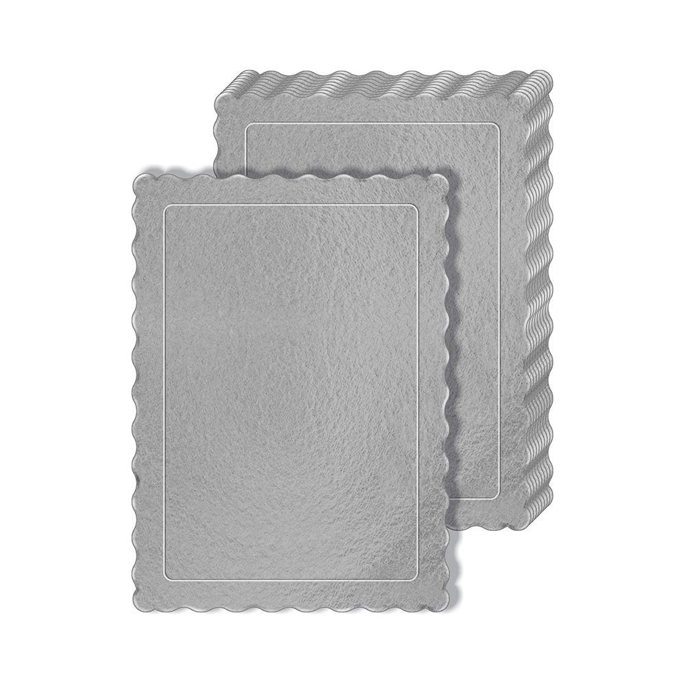50 Bases Laminadas Para Bolo Retangular, Cake Board 35x25cm - Prata
