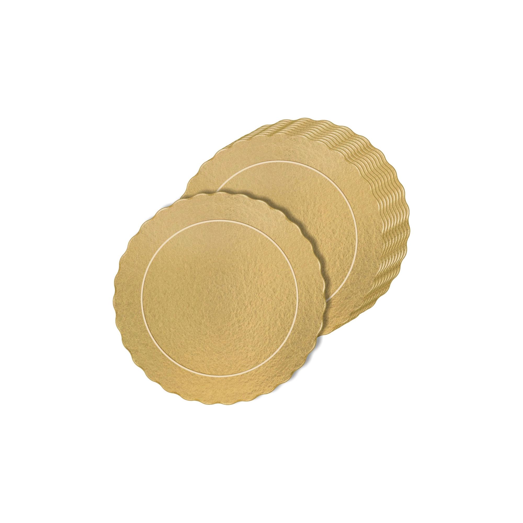 50 Bases Laminadas, Suporte P/ Bolo, 12cm - Ouro