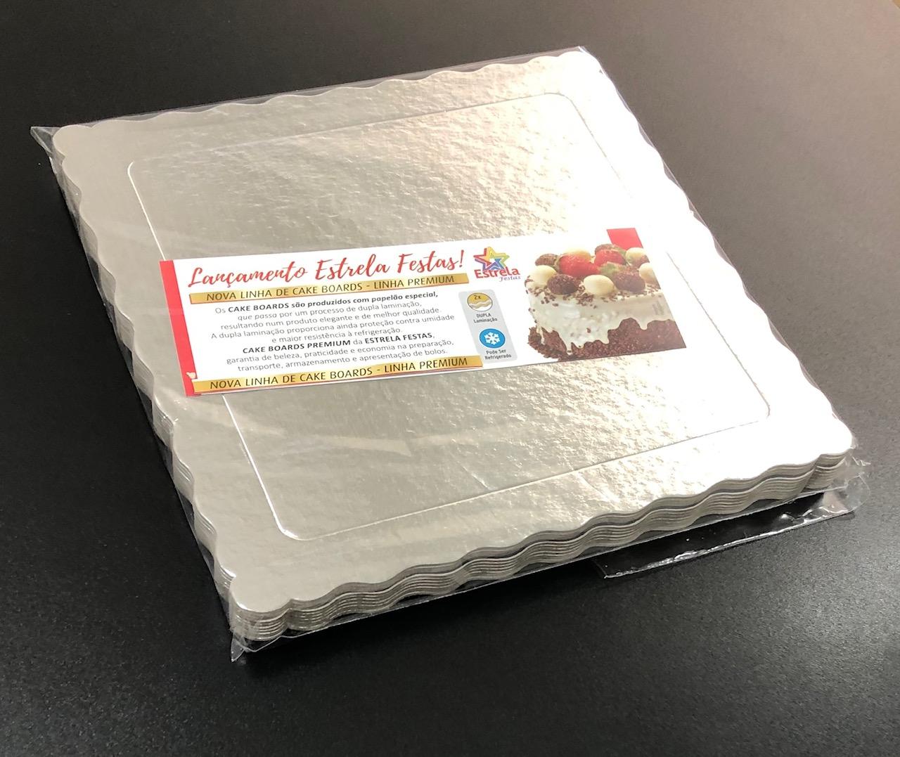 50 Bases Laminadas Para Bolo Quadrado, Cake Board 25x25cm - Prata