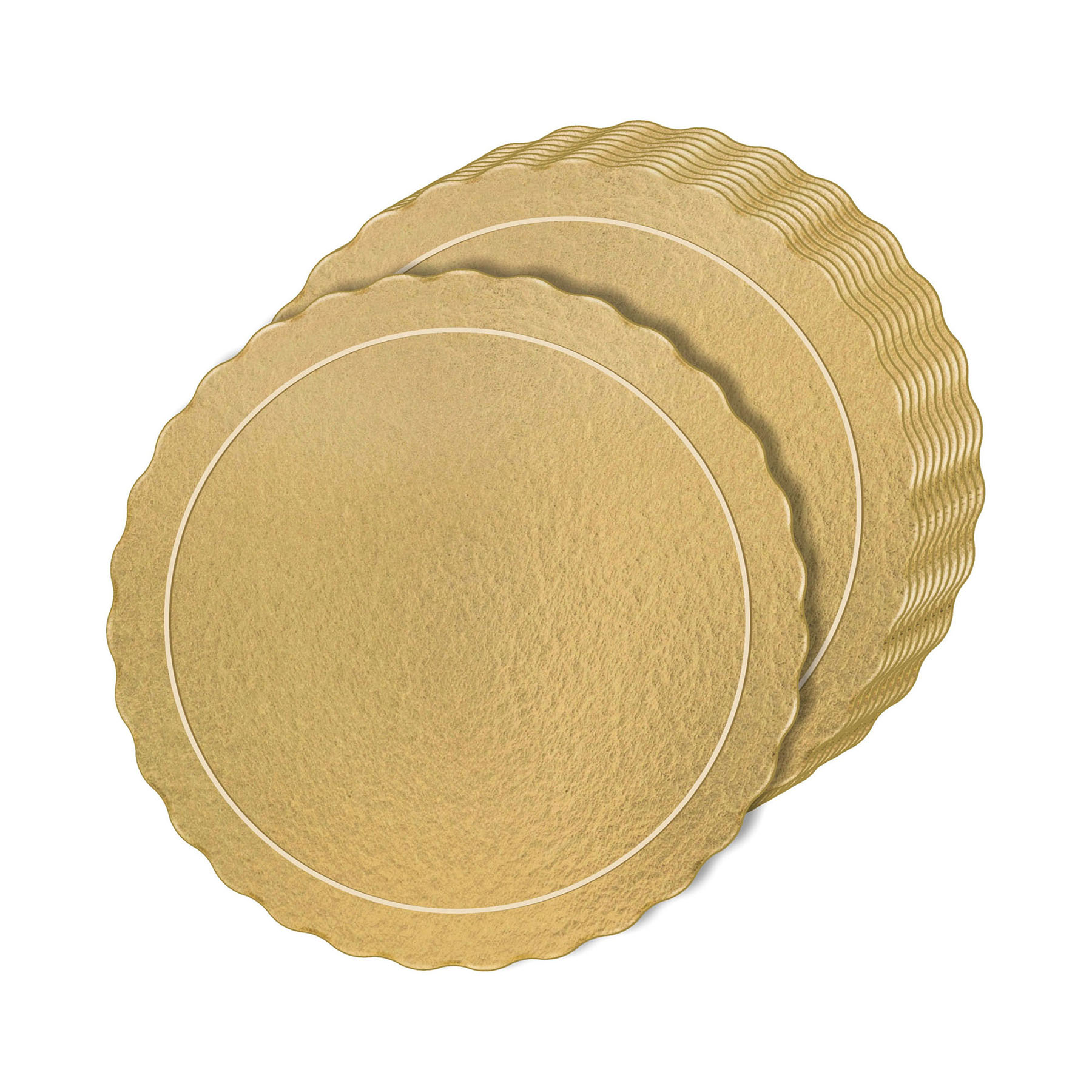 Kit 50 Bases Laminadas Para Bolo, Cake Board, 30 e 35cm - Ouro