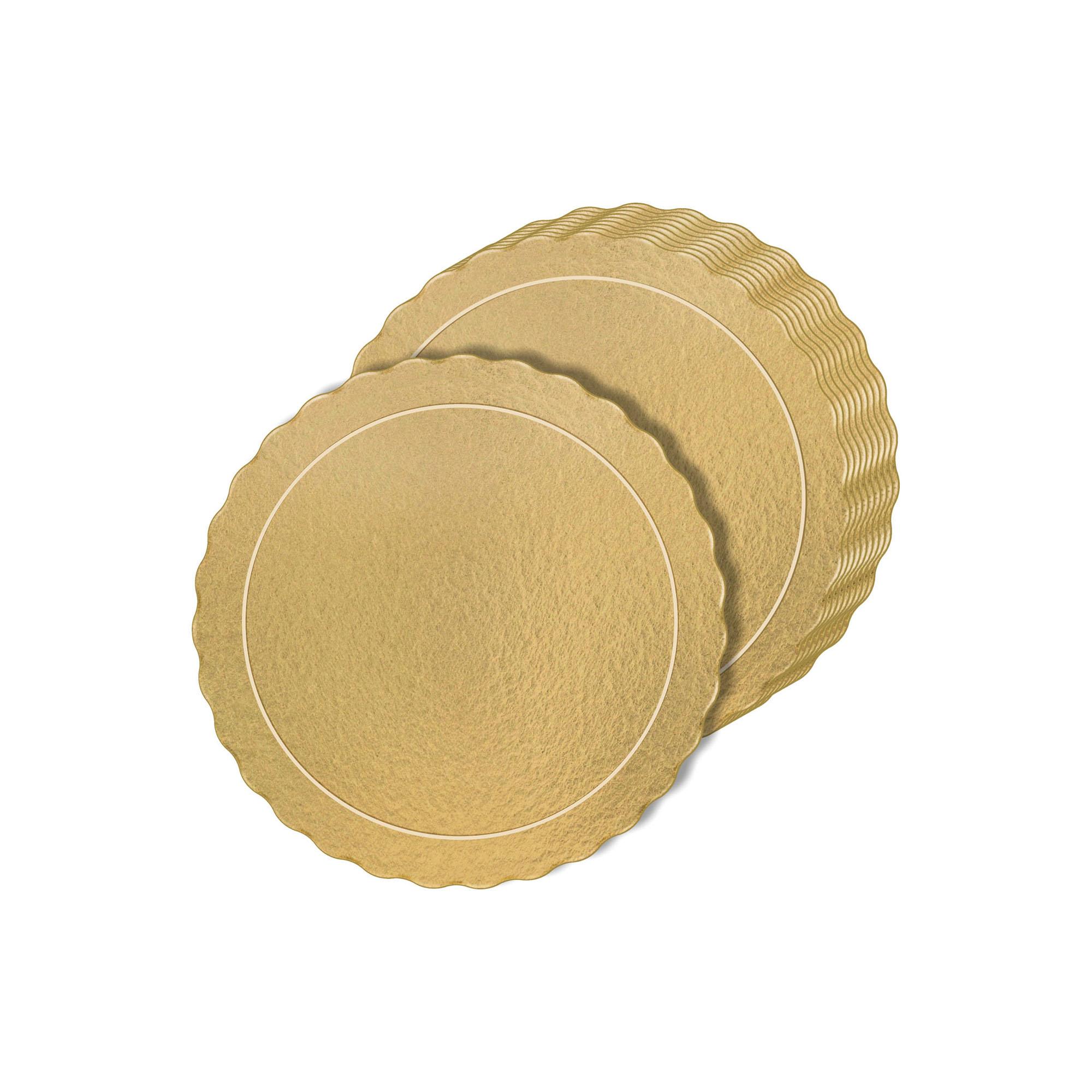 Kit 60 Bases Laminadas Para Bolo, Cake Board, 25 e 30cm - Ouro