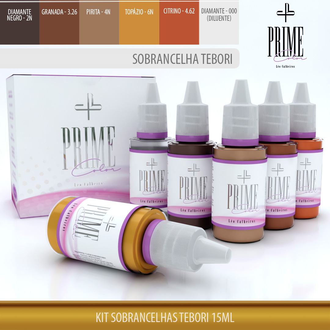 Kit Sobrancelhas Tebori 15ml - Prime Color