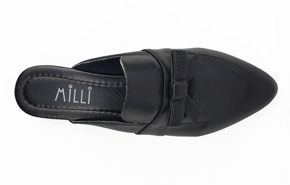 MULE MILLI NAPA PRETO / LAÇO SUPERIOR / BICO FINO