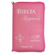 Bíblia Sagrada Tradução Oficial CNBB - Luxo com Zíper Rosa