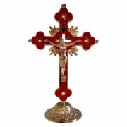 Crucifixo Metal - Dourado com Vermelho