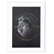 Quadro Moldura Branca - Leão da Tribo de Judá