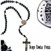 Terço Medalha das Duas Cruzes - Preto Fosco