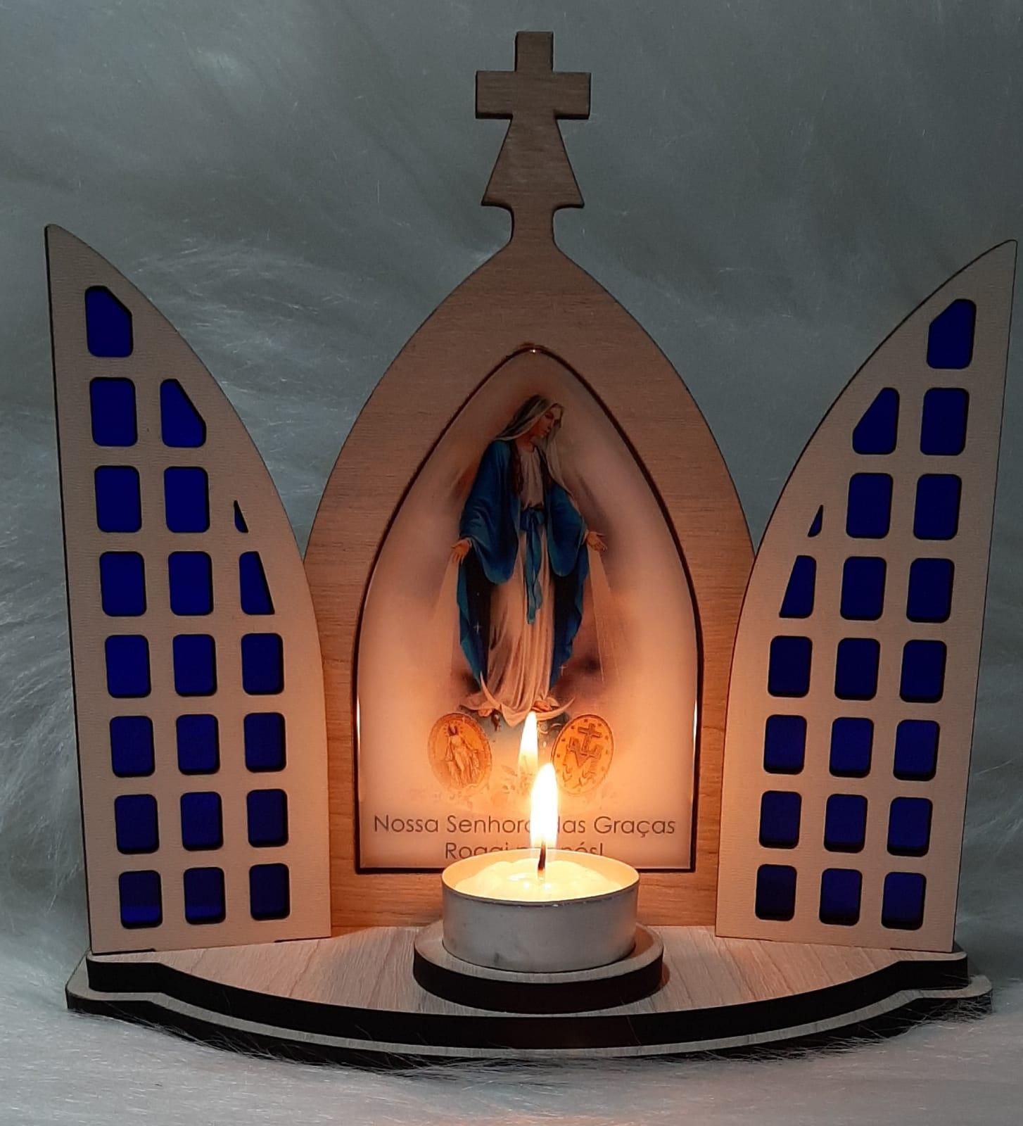 Capela Porta Fixa Vitral Com Vela - Nossa Senhora das Graças