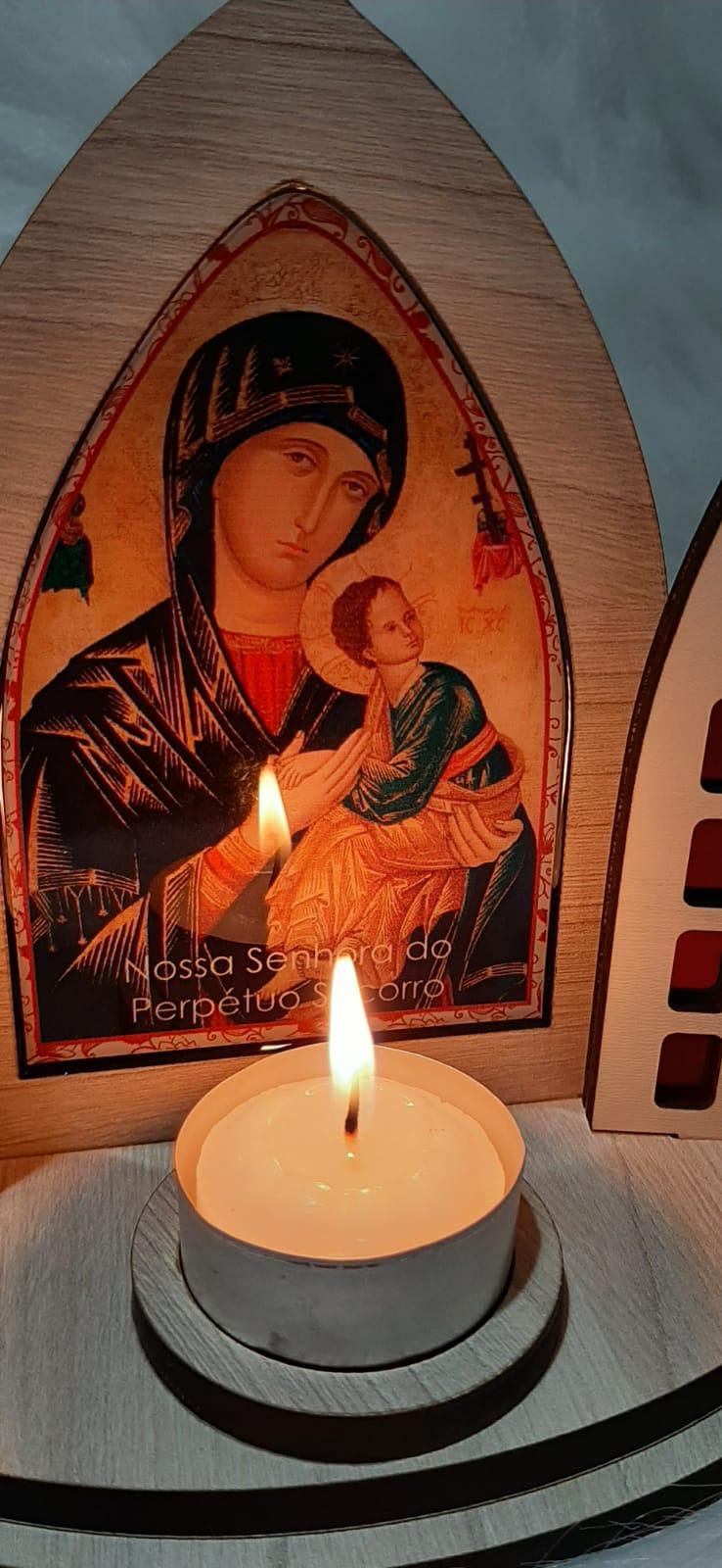 Capela Porta Fixa Vitral Com Vela - Nossa Senhora Perpétuo do Socorro