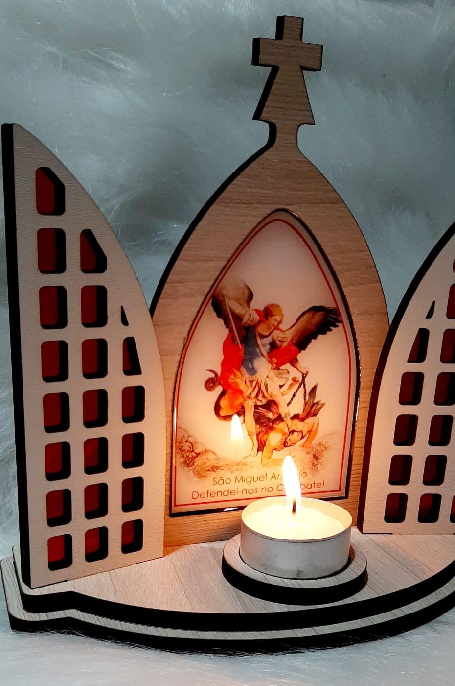 Capela Porta Fixa Vitral Com Vela - São Miguel Arcanjo