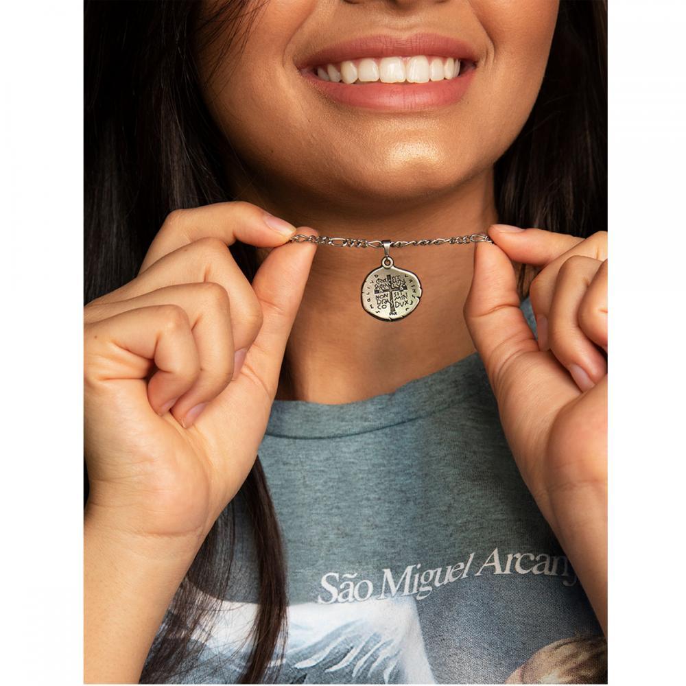Corrente Inox Medalha das Duas Cruzes - Feminina