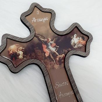 Crucifixo Parede MDF - Foto Resinada ( 3 Arcanjos )
