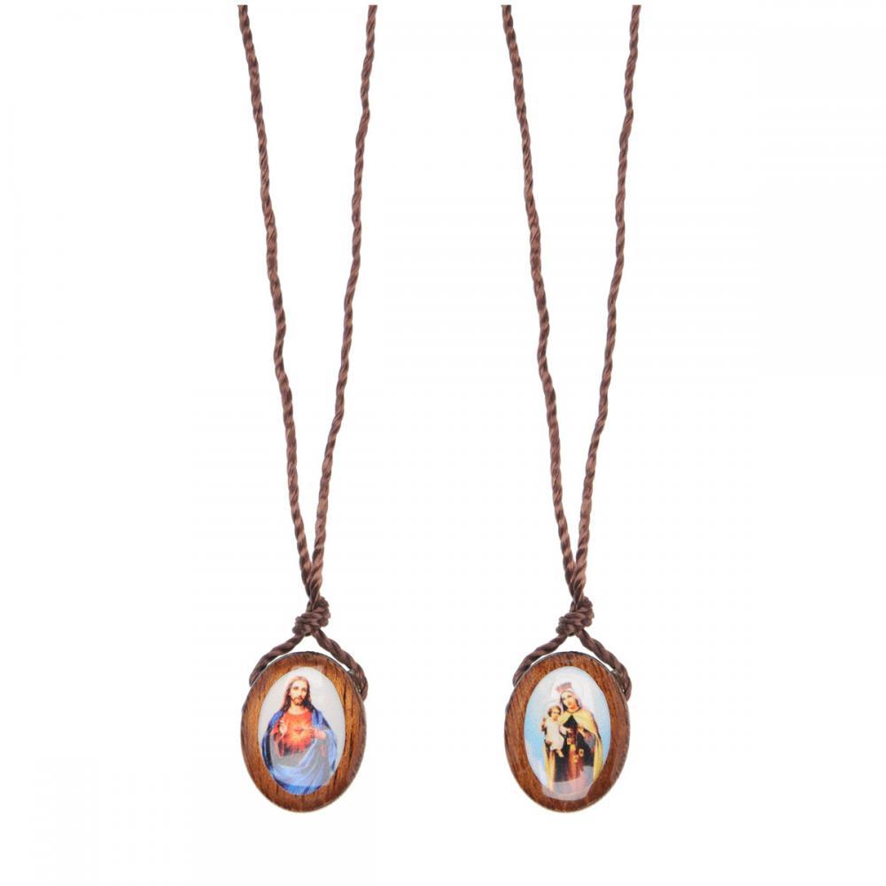 Escapulário Nossa Senhora do Carmo e Sagrado Coração de Jesus - Madeira