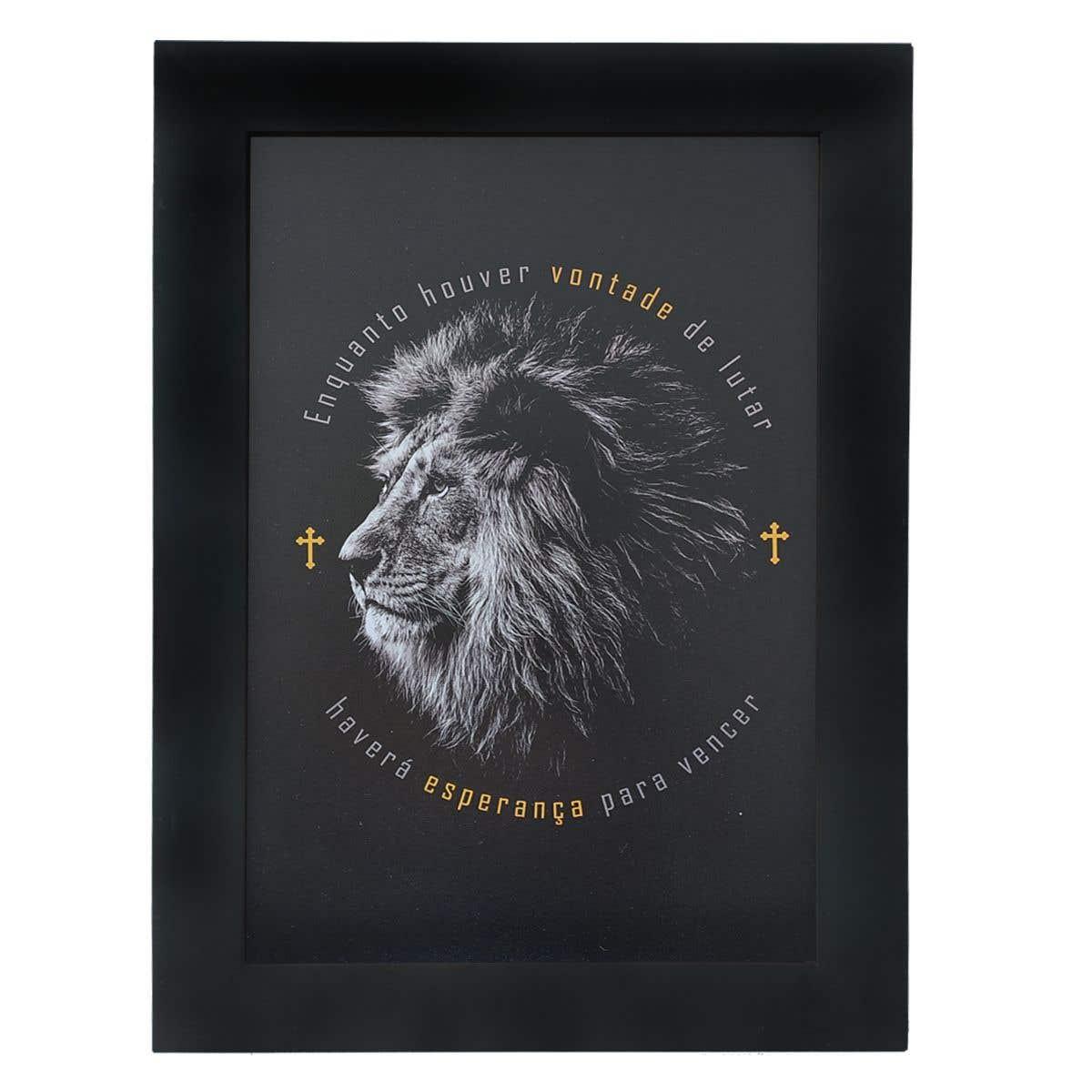 Quadro Moldura Preta - Leão da Tribo de Judá