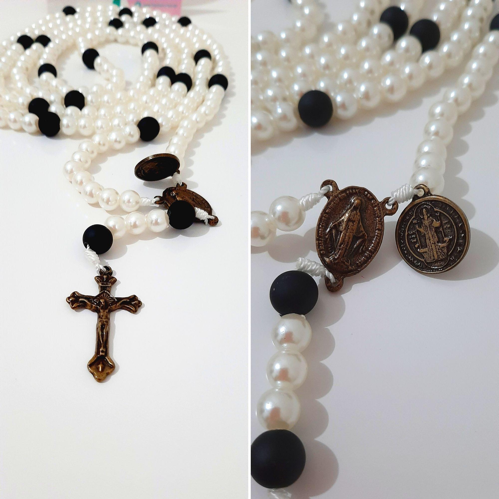 Rosário 20 Mistérios 200 Ave-Marias Pérola e Preto Nossa Senhora das Graças e Sagrado Coração de Jesus