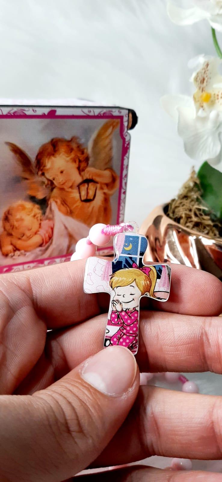 Terço Anjo da Guarda  - Infantil Rosa