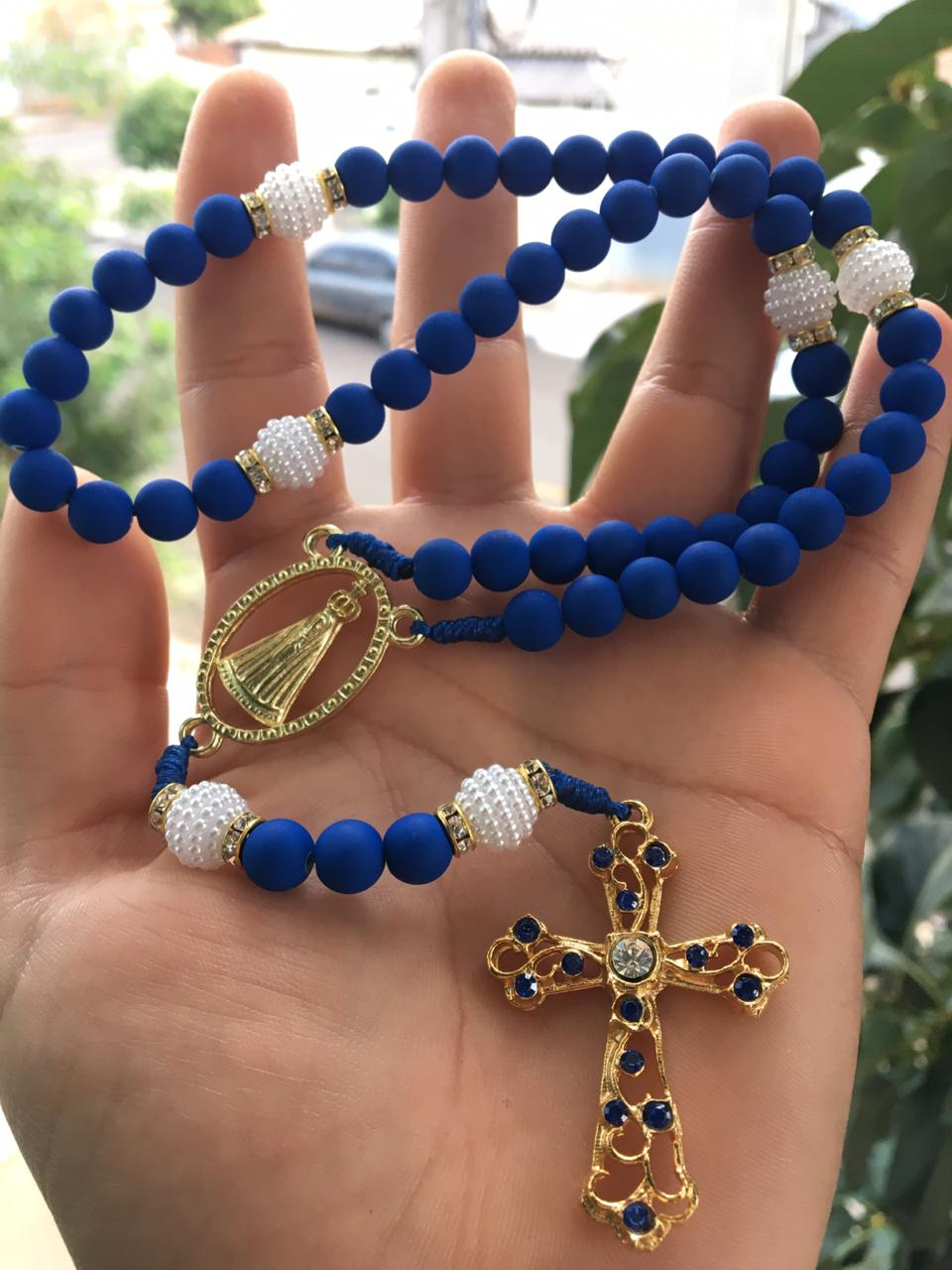 Terço Aparecida Luxo com Strass - Azul