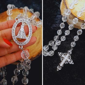 Terço Noiva Transparente Prata Arabesco - Nossa Senhora Aparecida