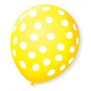 Balão Bexiga de Látex Redondo 09 Fantasia- Amarelo/ Branco