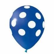 Balão Bexiga de Látex Redondo Fantasia- Azul/ Branco