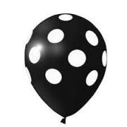 Balão Bexiga de Látex Redondo Fantasia- Preto/ Branco