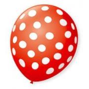 Balão Bexiga de Látex Redondo Fantasia- Vermelho/ Branco