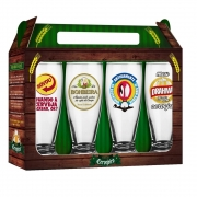 Conjunto 4 Copos Munich Cervejas Nacionais Brasfoot Ref:7589